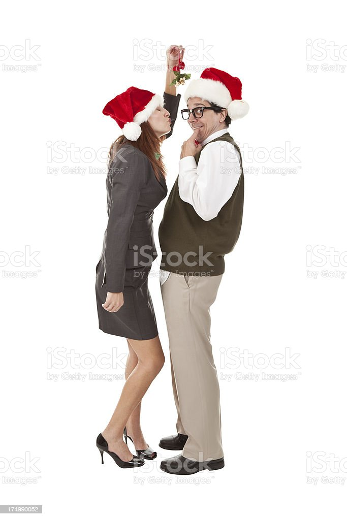 Nervous Nerd About To Be Kissed Under Mistletoe royalty-free stock photo