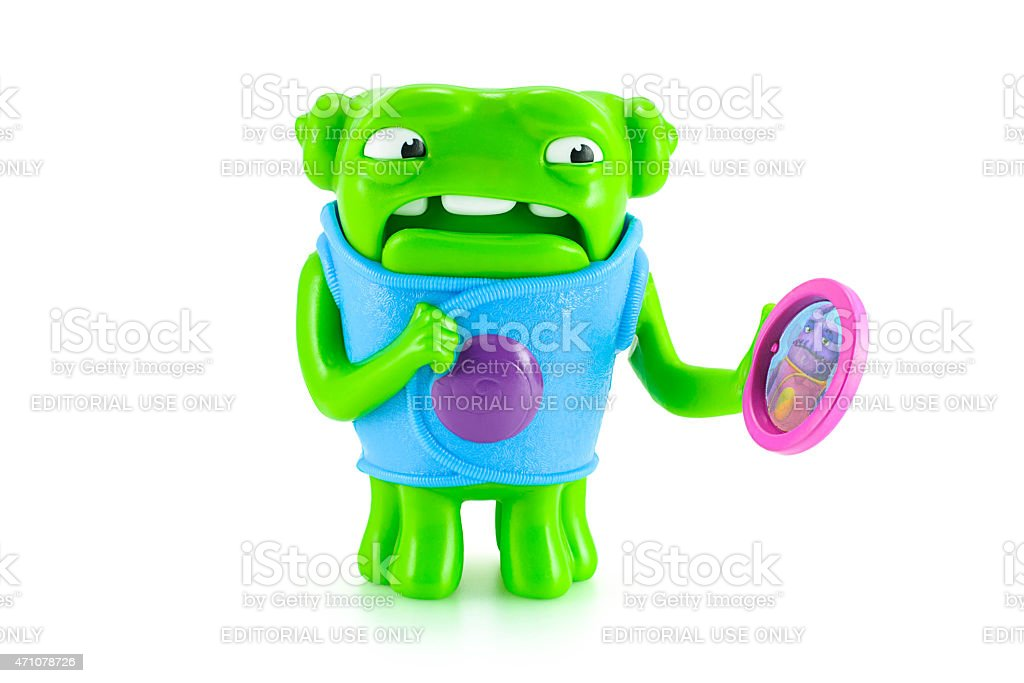 Nervous OH alien green color toy character from Dreamworks HOME stock photo
