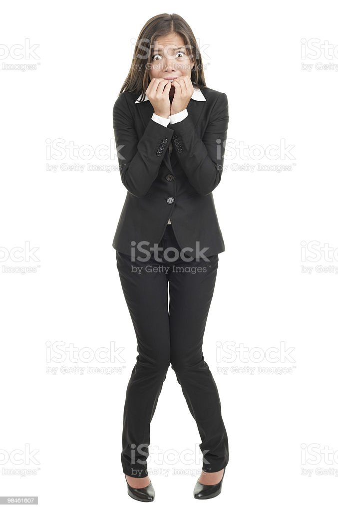 Nervous scared businesswoman stock photo