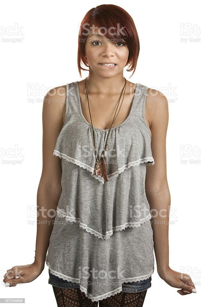 Nervous Teenage Girl stock photo