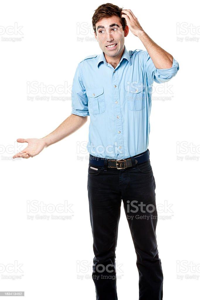 Nervous Uncertain Man Scratches His Head stock photo