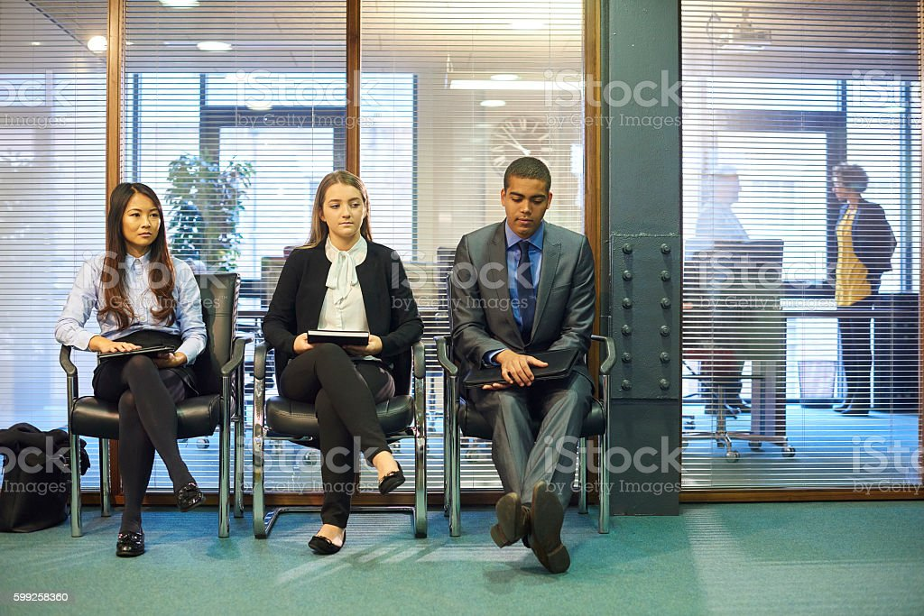 nervous wait at the interview stock photo