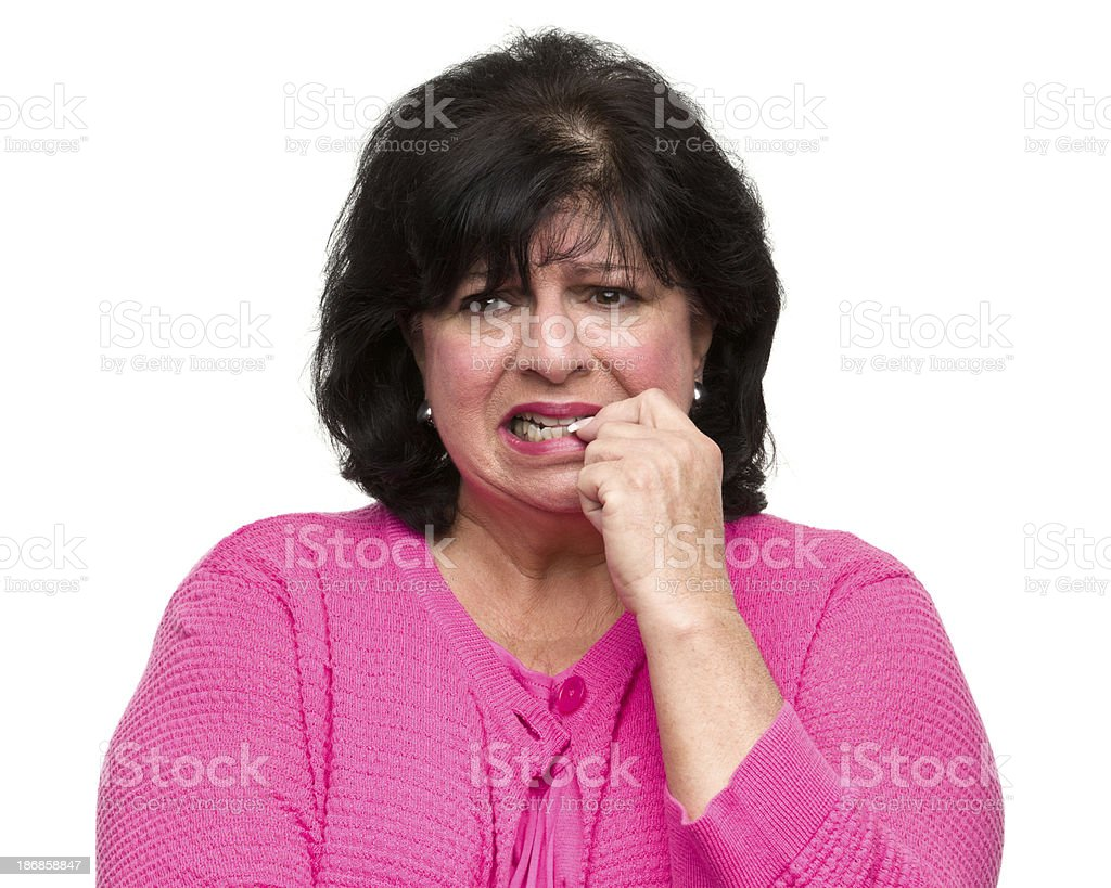 Nervous Woman Bites Nails royalty-free stock photo