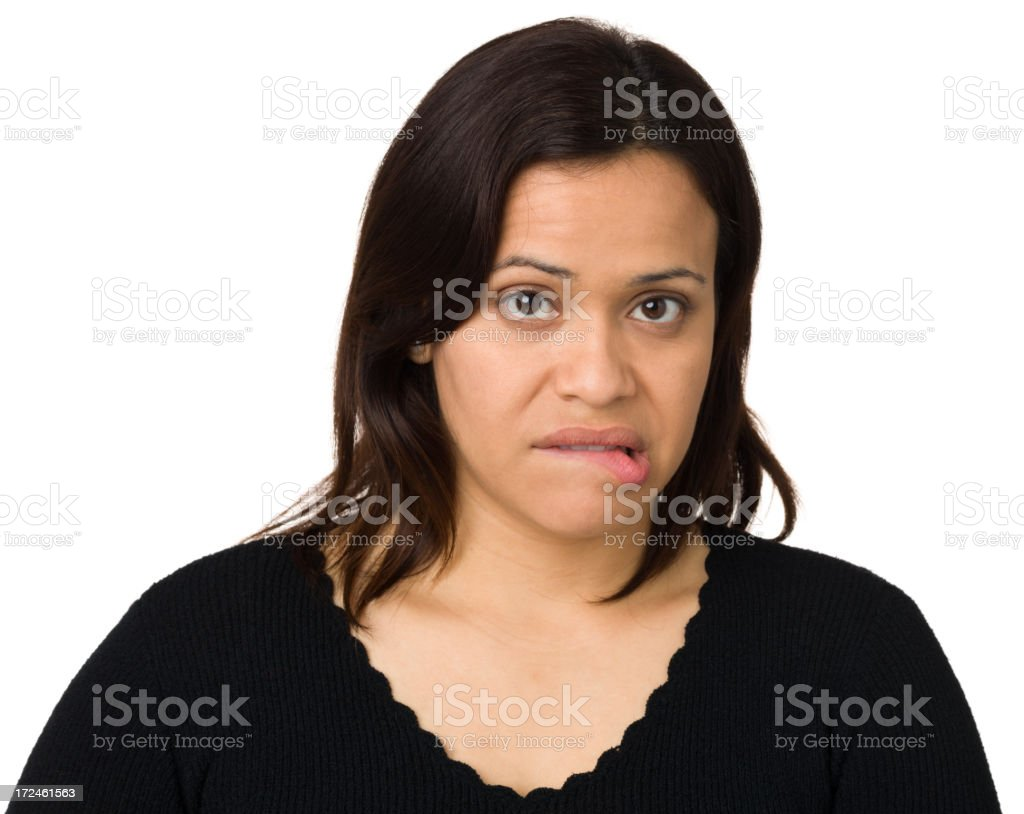 Nervous Woman Biting Lip royalty-free stock photo