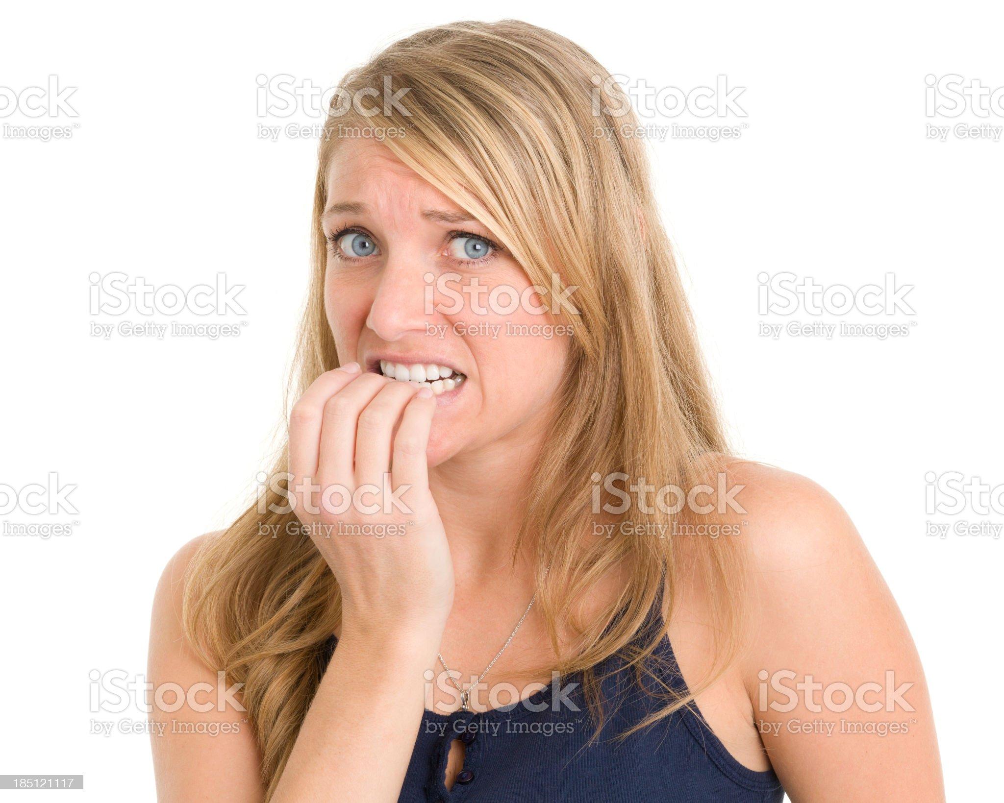 Nervous Woman Biting Nails royalty-free stock photo