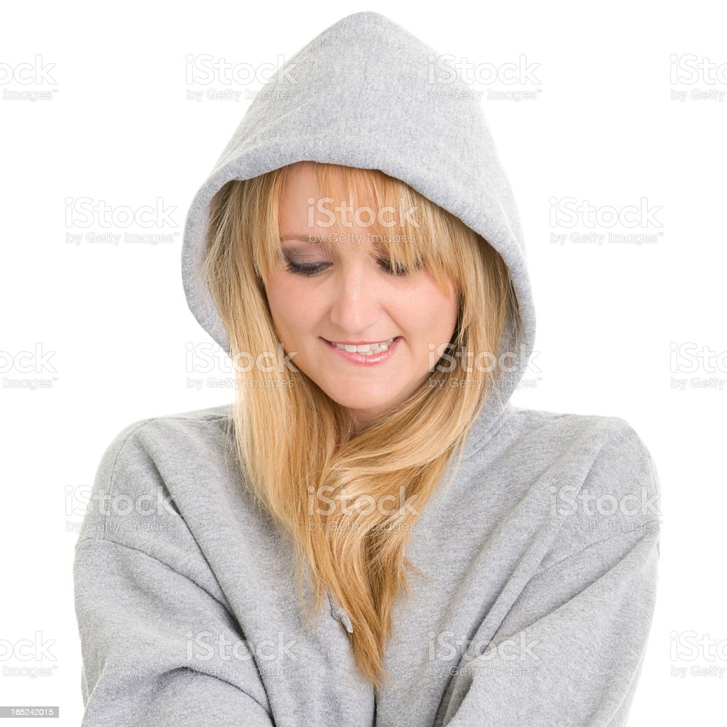Nervous Woman In Hoodie royalty-free stock photo