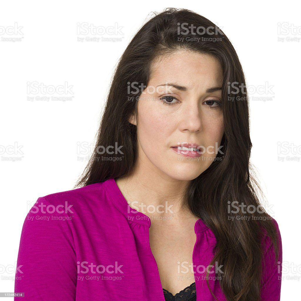 Nervous Woman Looking Down royalty-free stock photo