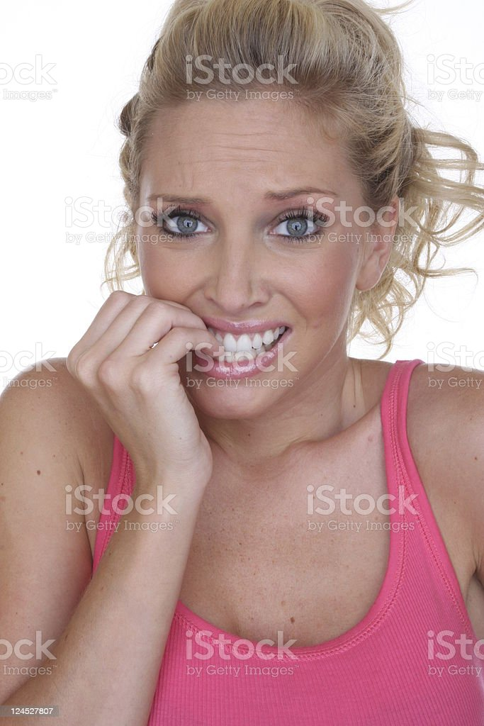 nervous woman royalty-free stock photo