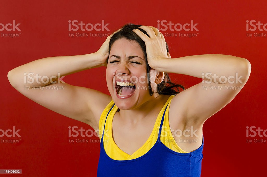 Nervous woman royalty-free stock photo