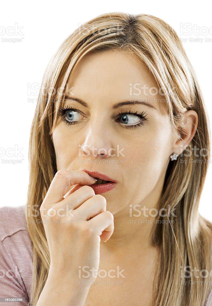 Nervous woman. royalty-free stock photo