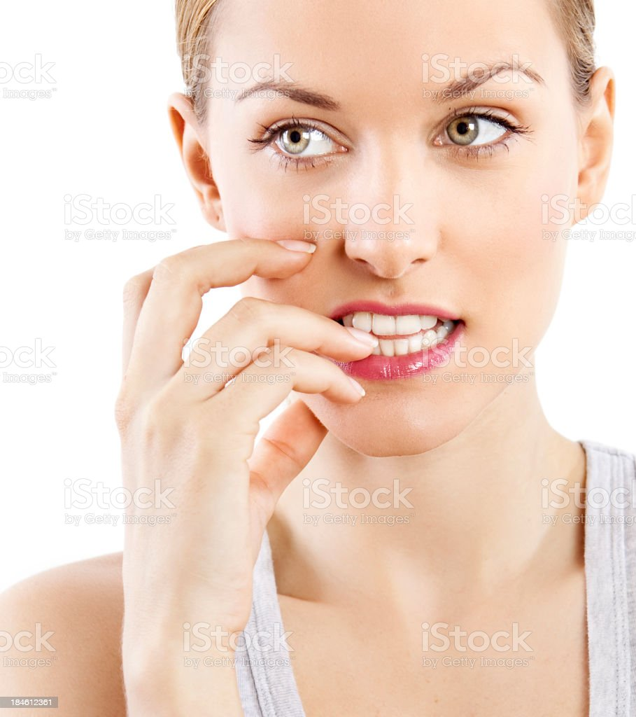 Nervous woman stock photo