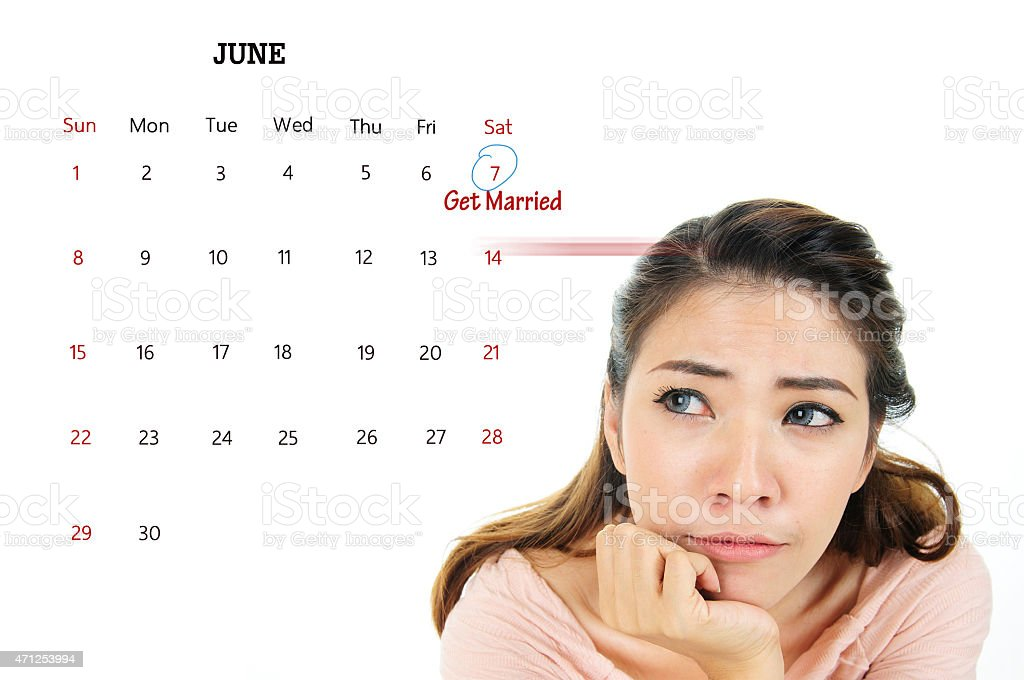 Nervous woman think about getting married stock photo