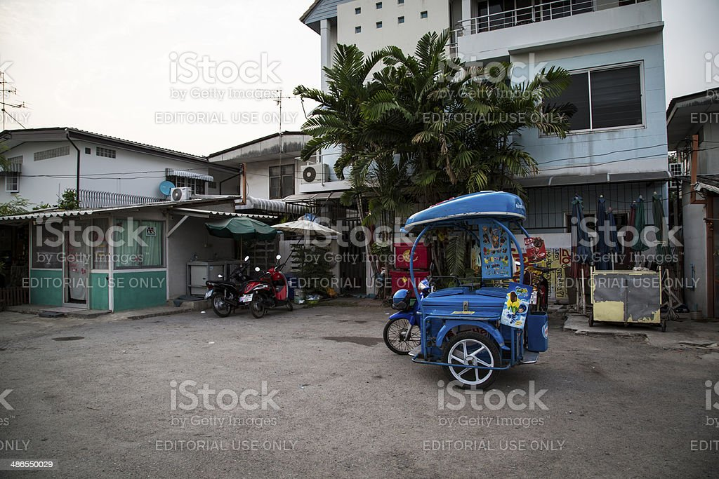 Nesle ice cream scooter parked in front property , Thailand royalty-free stock photo