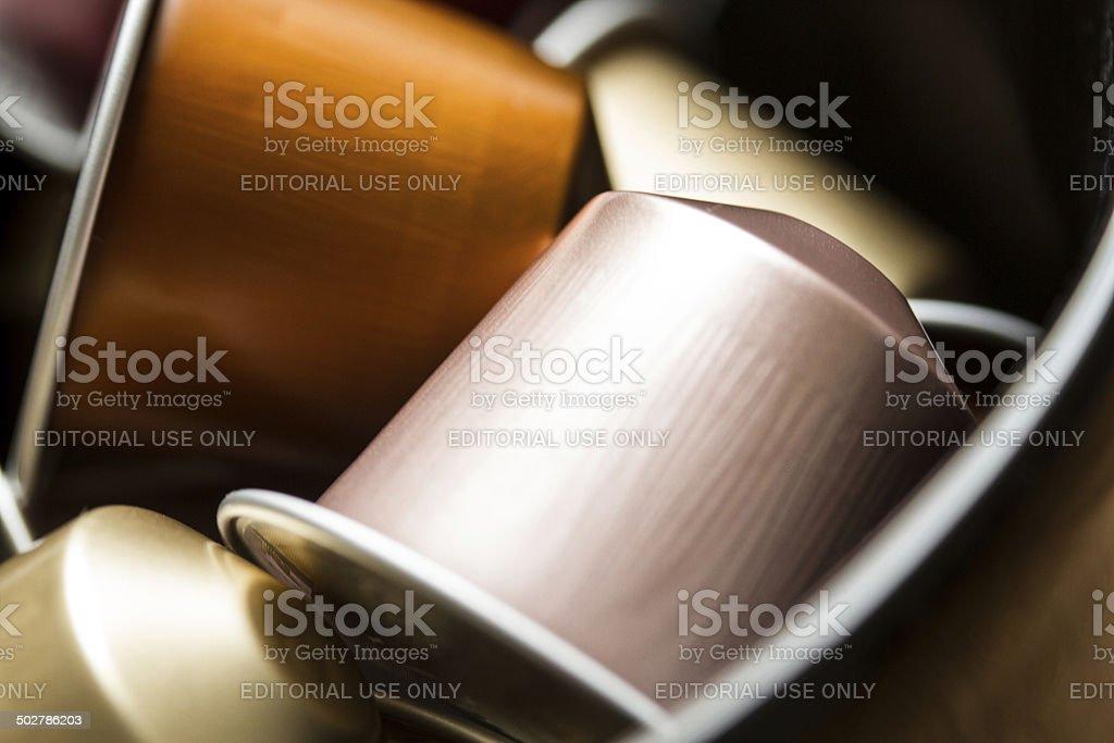 Nespresso caps stock photo