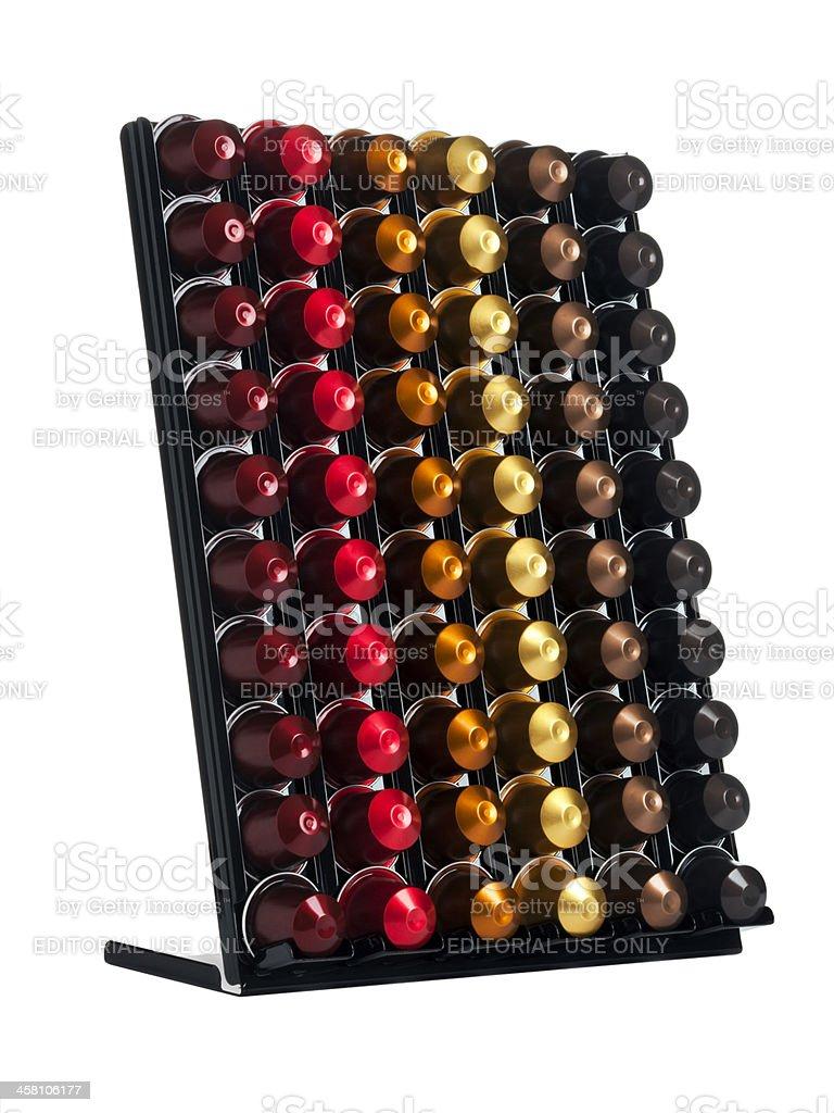 Nespresso capsules in display stock photo