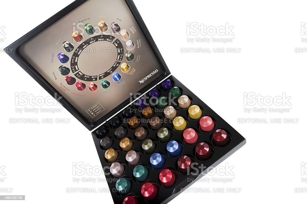 Nespresso capsules in giftbox stock photo