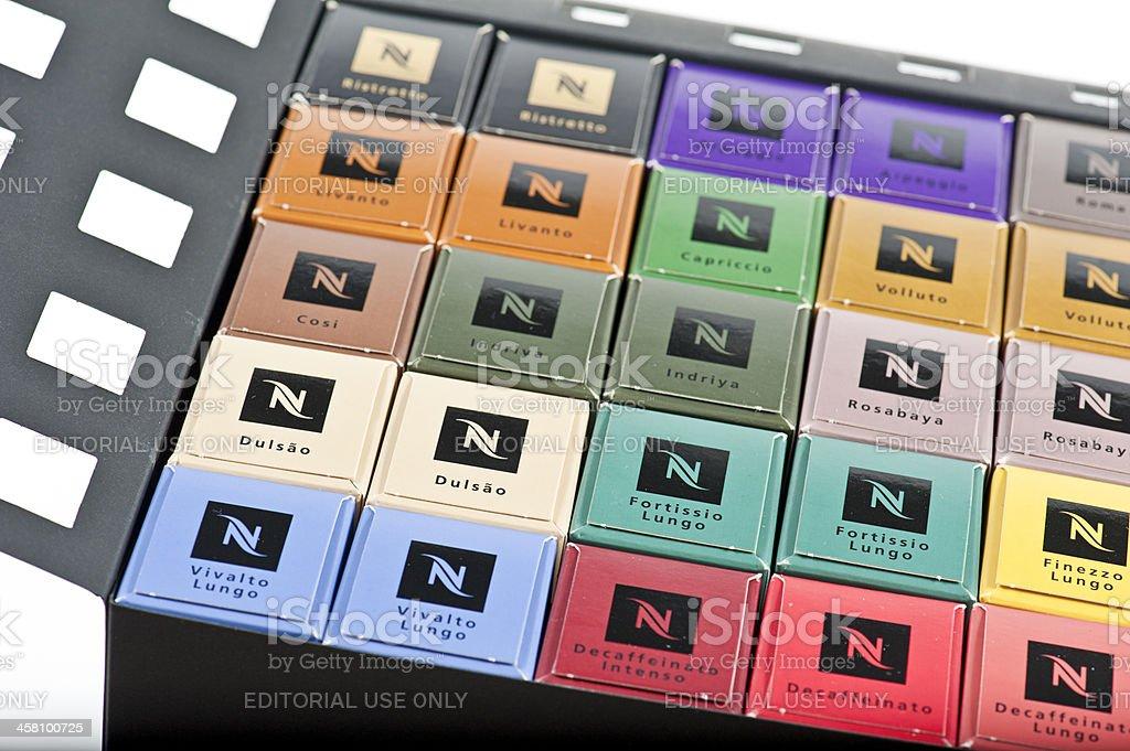Nespresso capsules in large giftbox stock photo