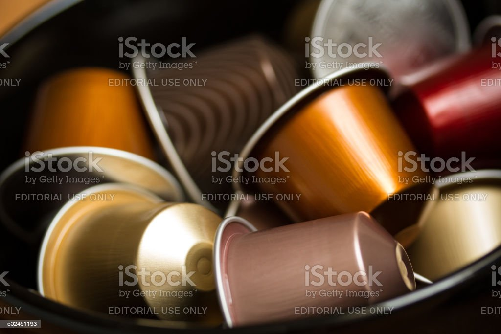 Nespresso capsules stock photo