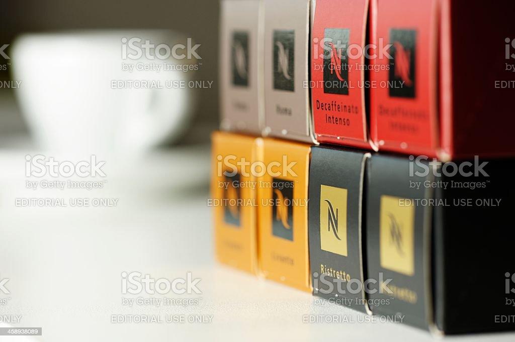 Nespresso Coffee Boxes stock photo