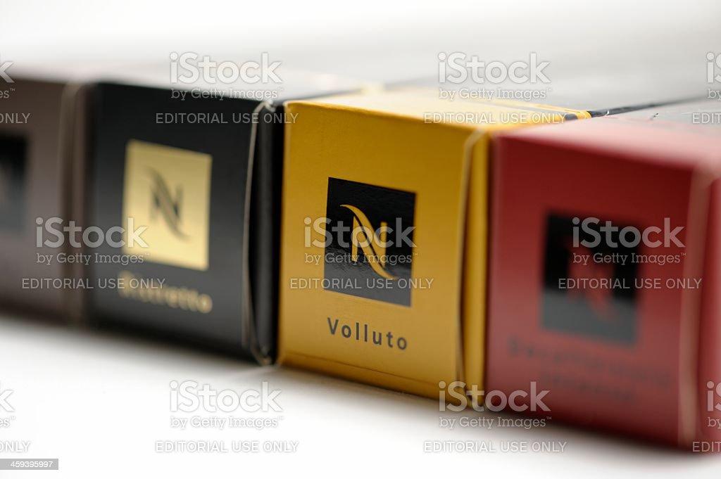 Nespresso Coffee Capsule Boxes stock photo
