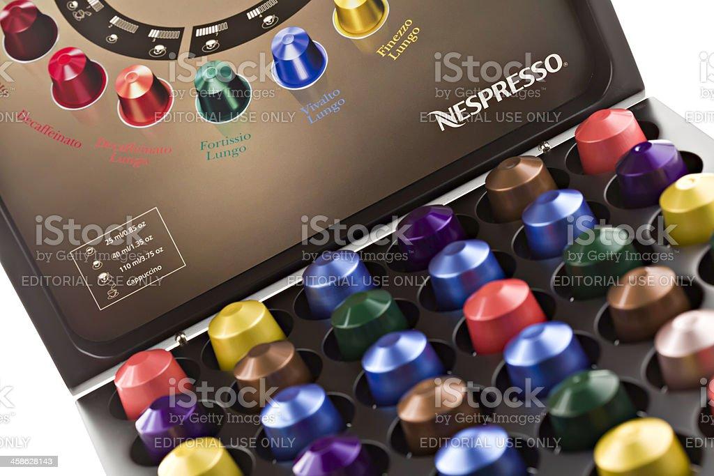 Nespresso Coffee Capsules In Storage Box. stock photo