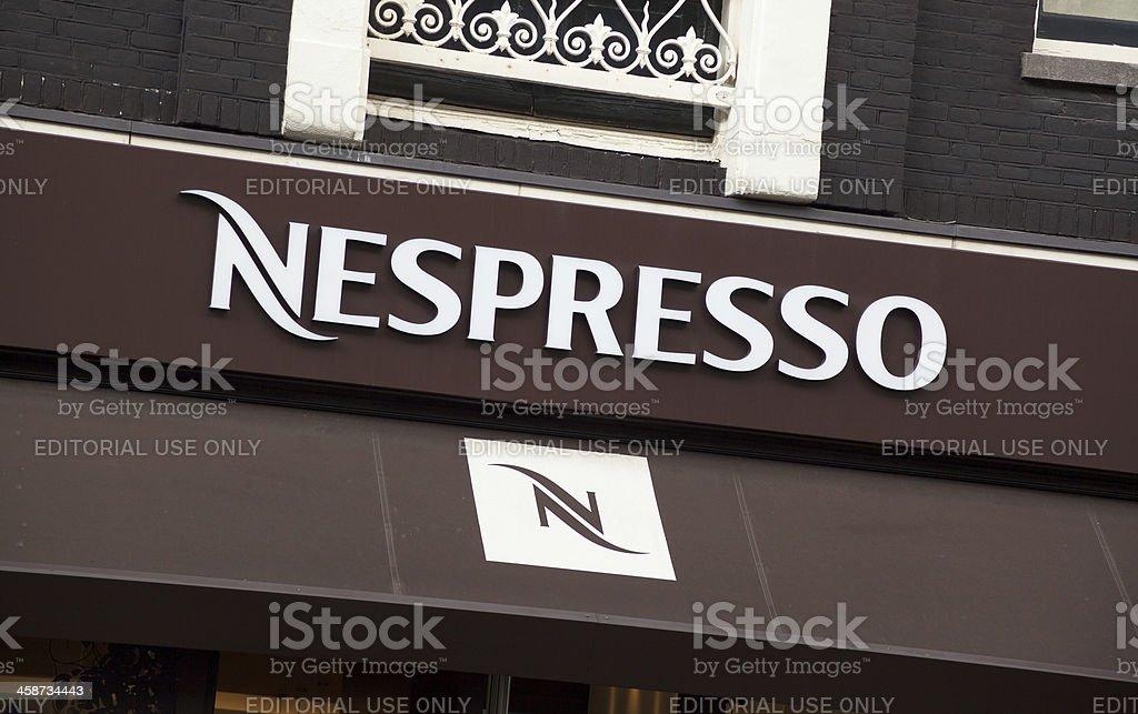 Nespresso logo on store front in Amsterdam stock photo