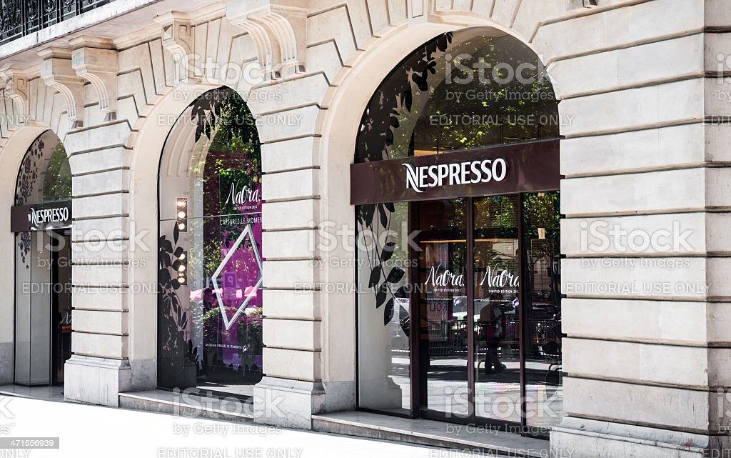 Nespresso retail store on Champs Elysées, Paris stock photo