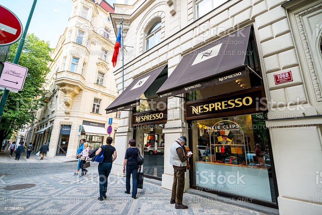 Nespresso Shop in Prague stock photo