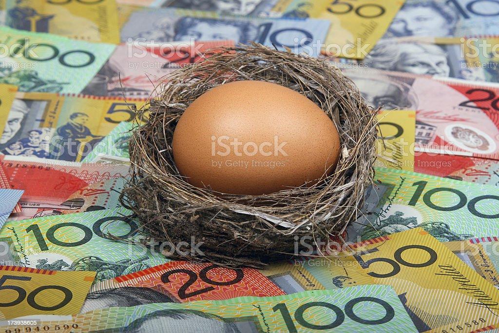 Nest Egg in Australian Cash royalty-free stock photo