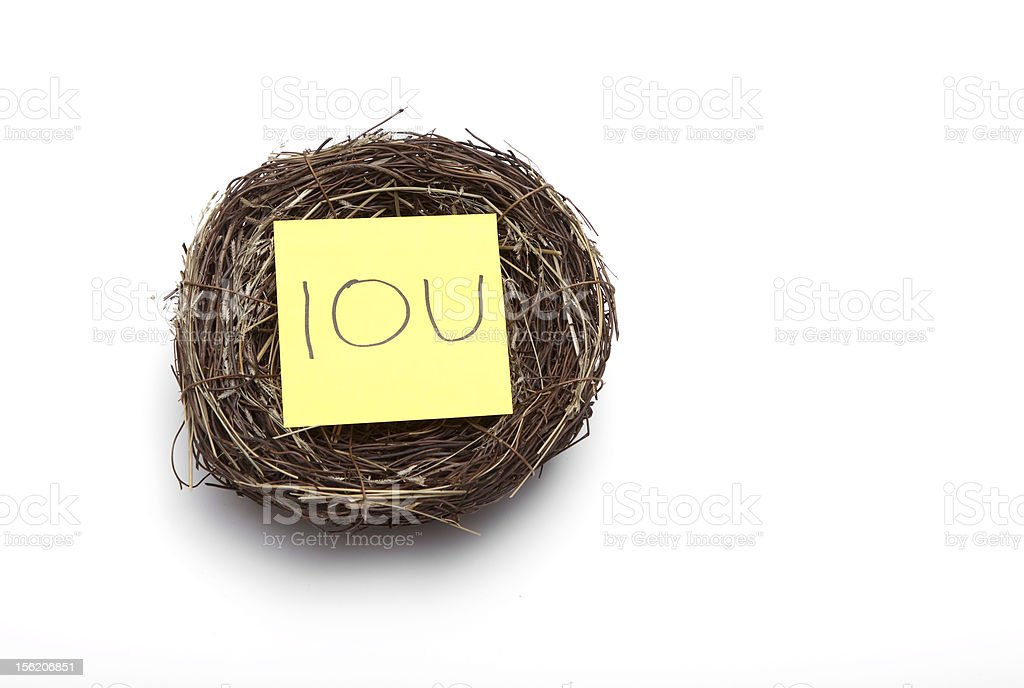 Nest egg replaced by an IOU stock photo