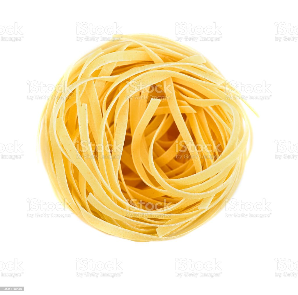 Nest pasta View from top stock photo