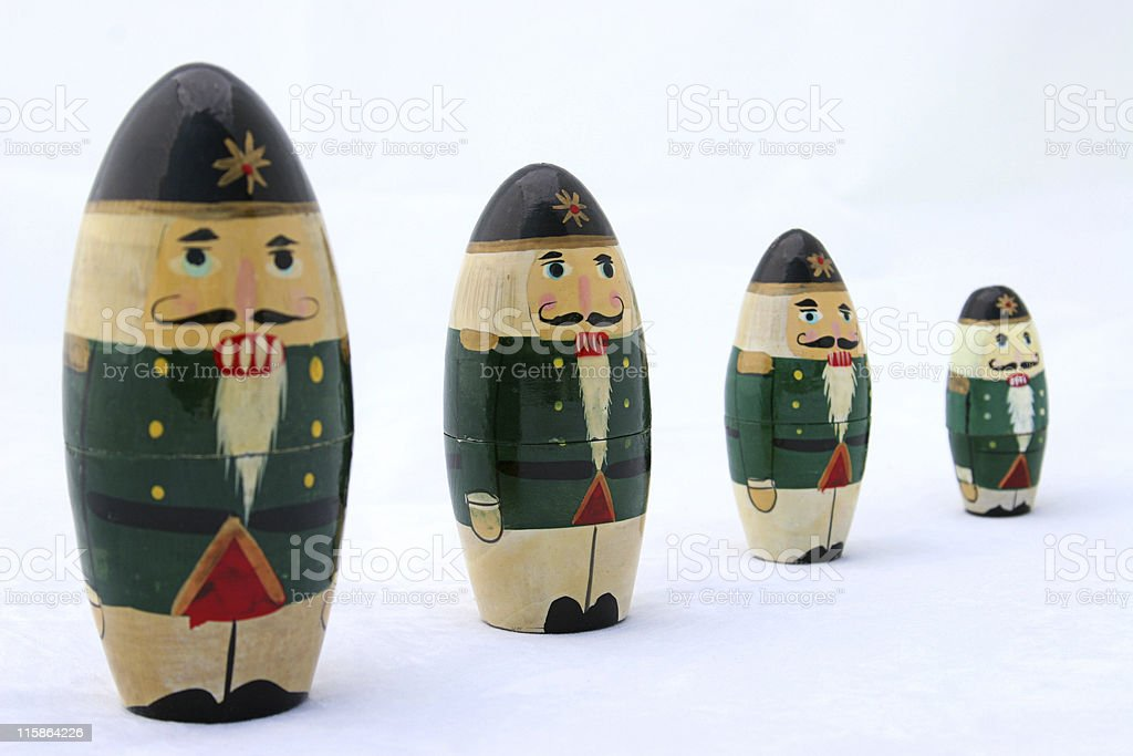 Nesting Nutcrackers at Attention royalty-free stock photo