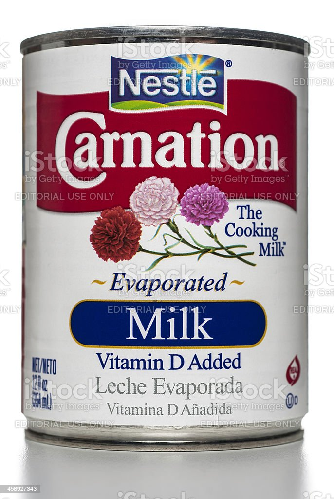 Nestlé Carnation Evaporated Milk can stock photo