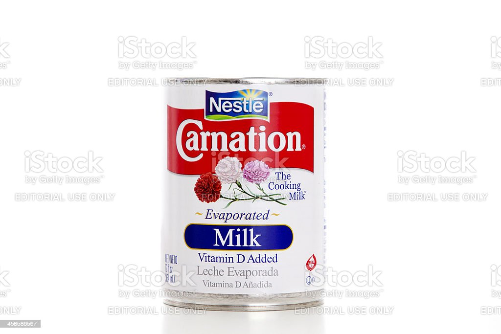 Nestle Carnation Evaporated Milk Leche Evaporada stock photo