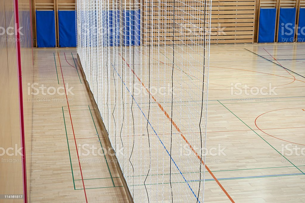 Net in Sports Hall royalty-free stock photo