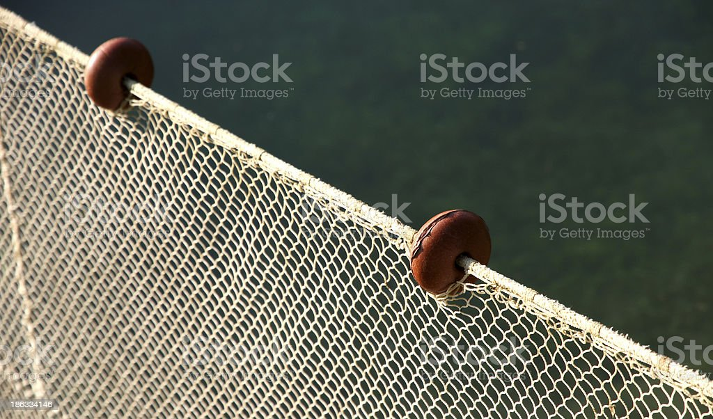 net intact without fish but with some floats royalty-free stock photo