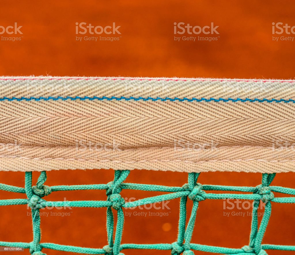 Net of tennis court on clay court stock photo