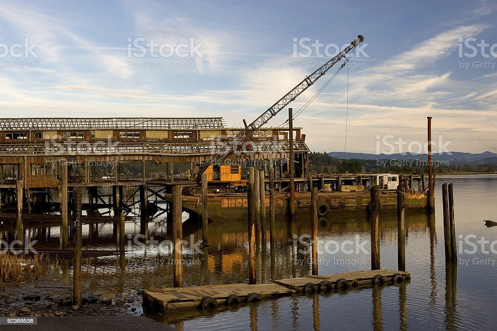 Net Shed and Floating Crane royalty-free stock photo