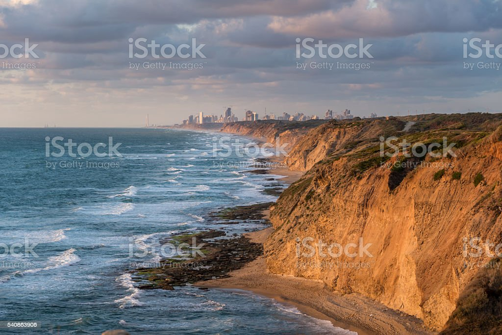Netanya view from Apollonia National Park stock photo