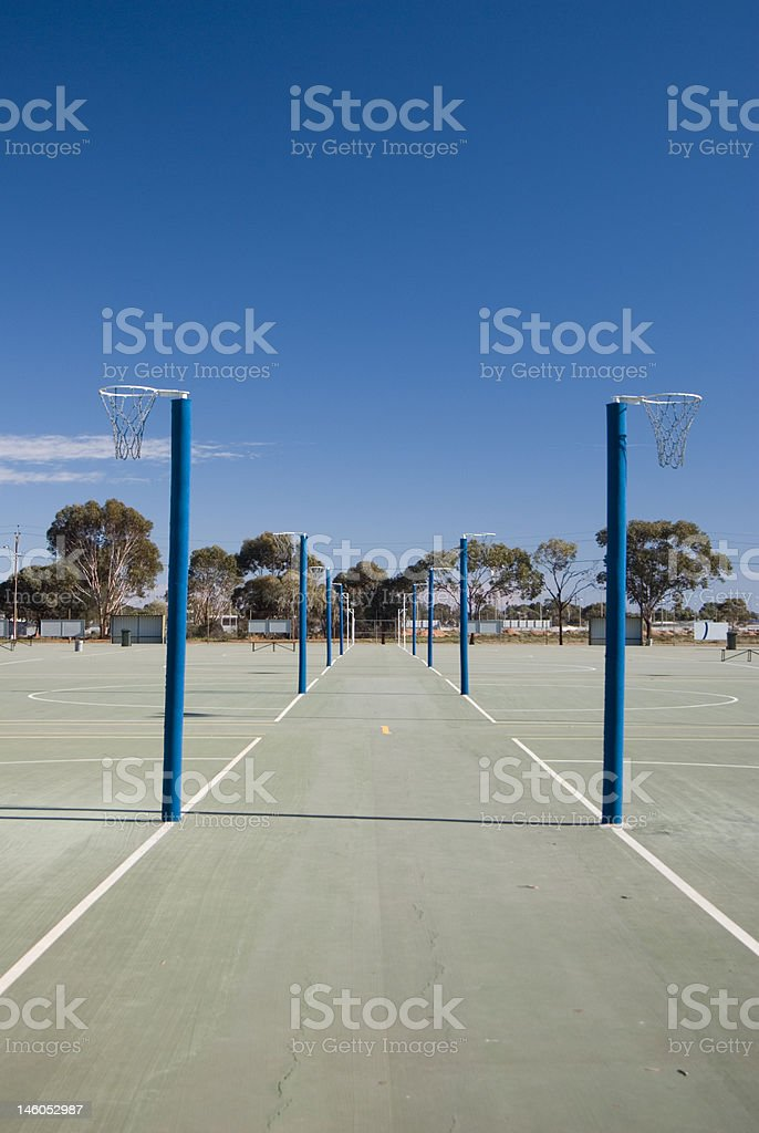 Netball Courts and Rings stock photo