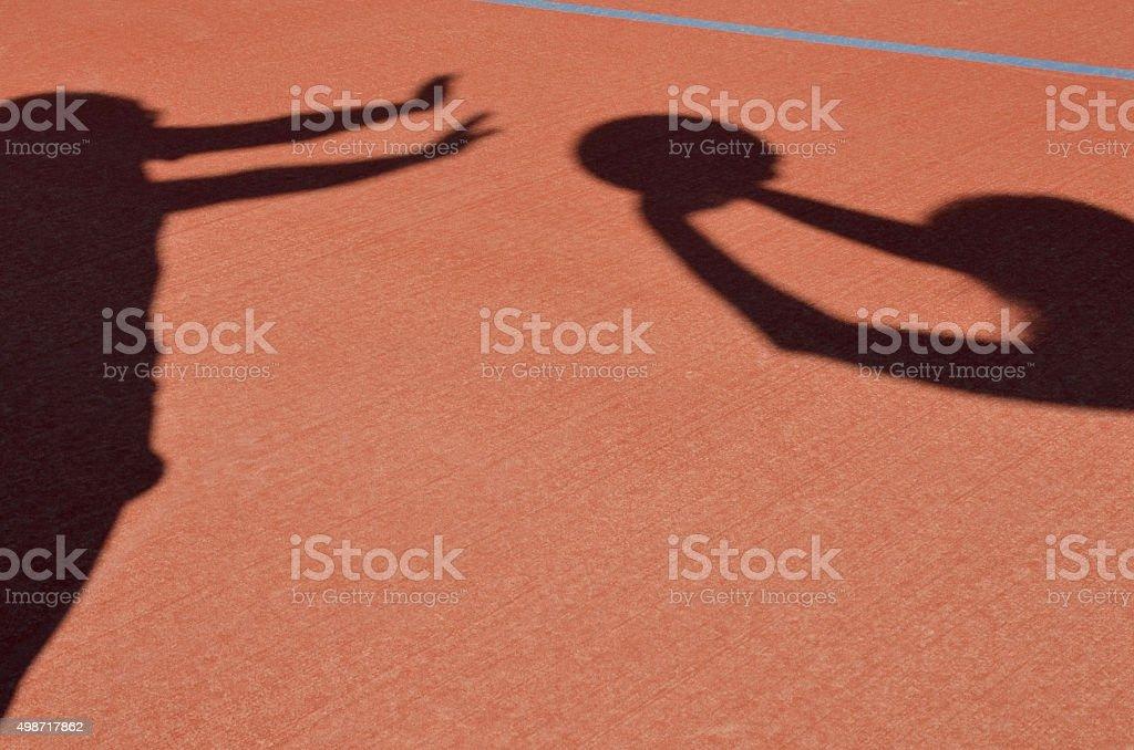 Netball Players playing netball stock photo