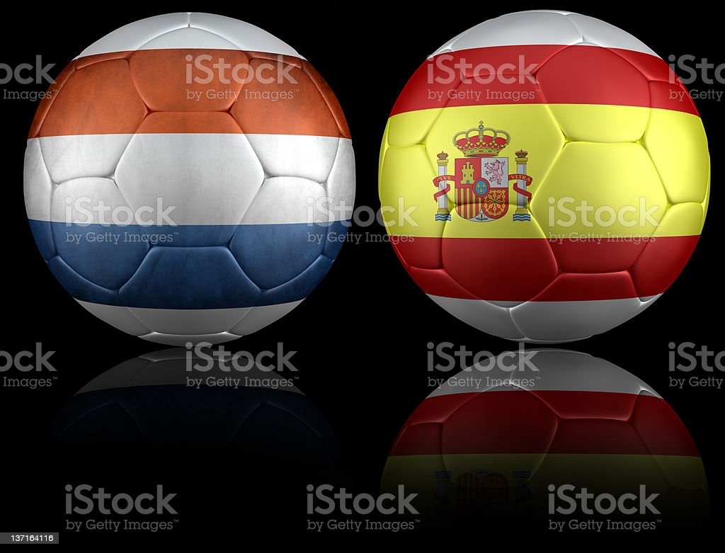 Netherland and spain soccer ball royalty-free stock photo