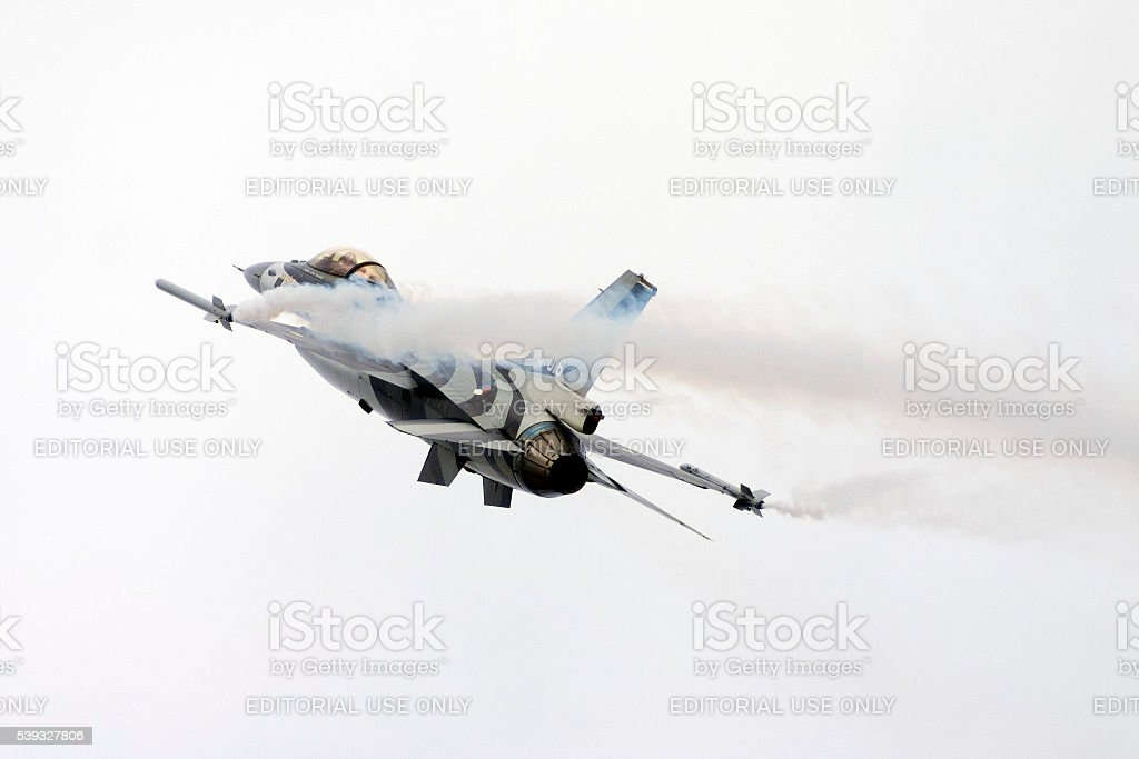Netherlands Air Force F-16 solo display stock photo