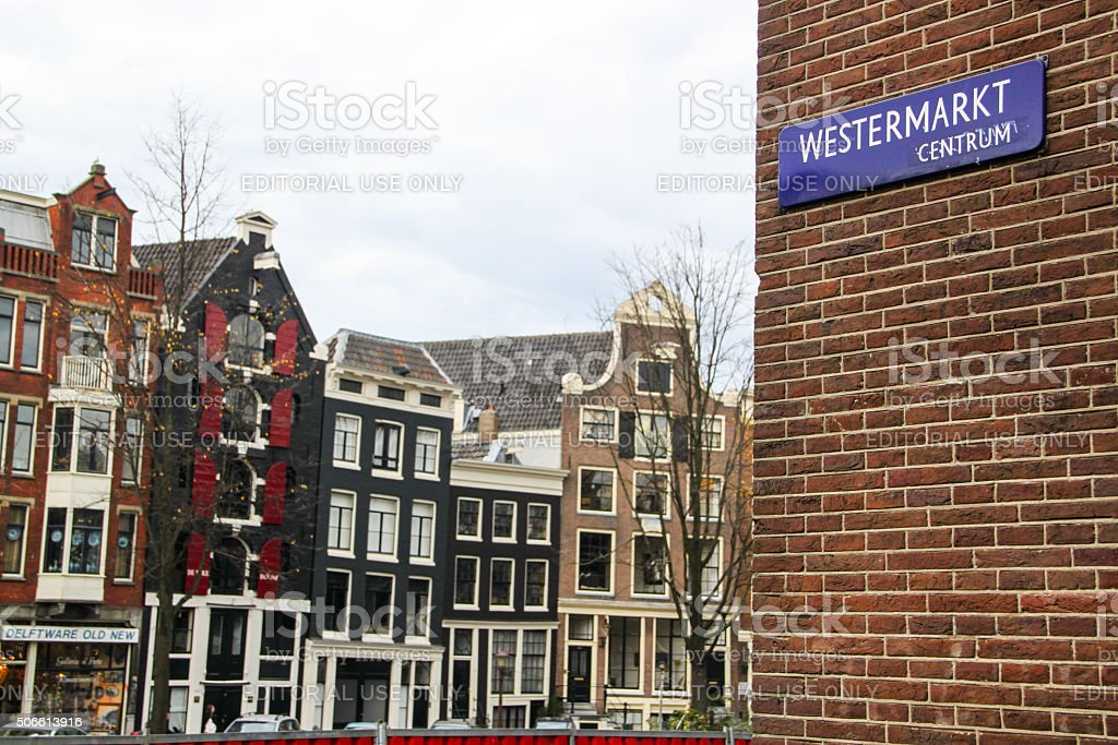 Netherlands: Canal Houses along Prinsengracht stock photo