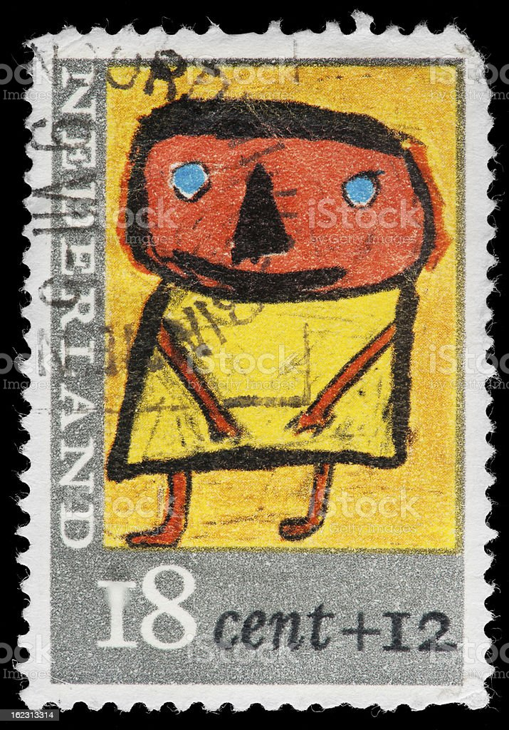 Netherlands (Holland) Dutch Postage Stamp, Child in Primitive Style stock photo