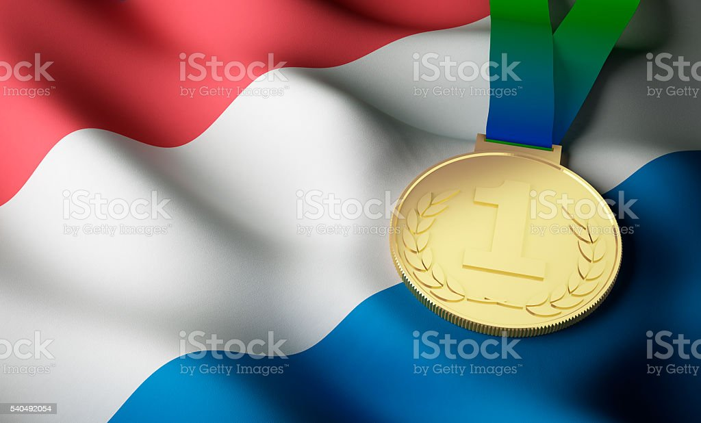 Netherlands flag, gold medal stock photo