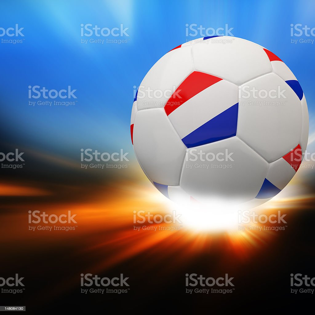 Netherlands flag on 3d football royalty-free stock photo