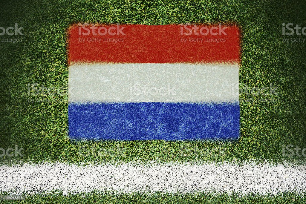 Netherlands flag printed on a soccer field royalty-free stock photo
