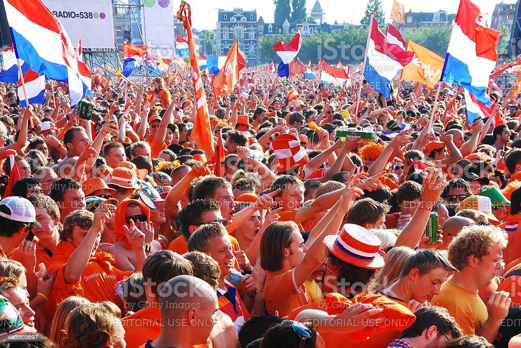 Netherlands football fans. stock photo