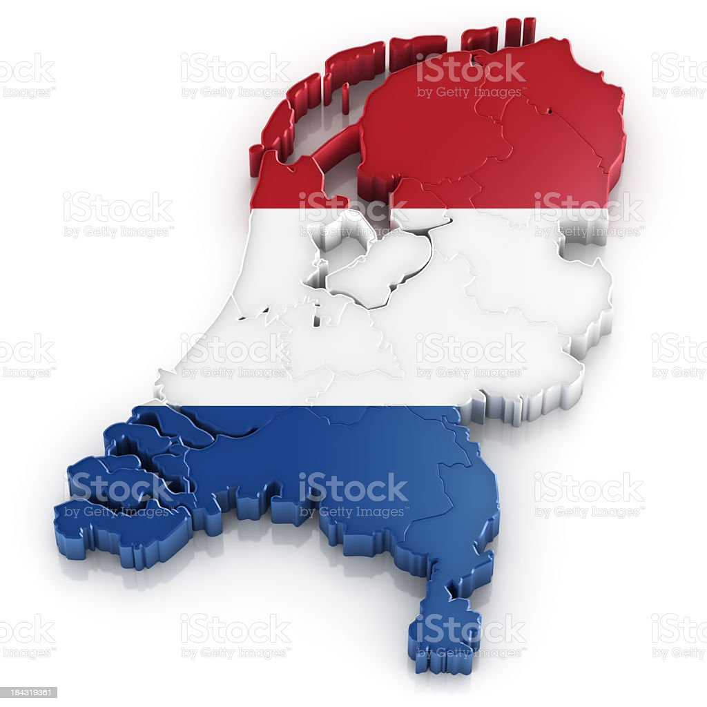 Netherlands map with flag stock photo
